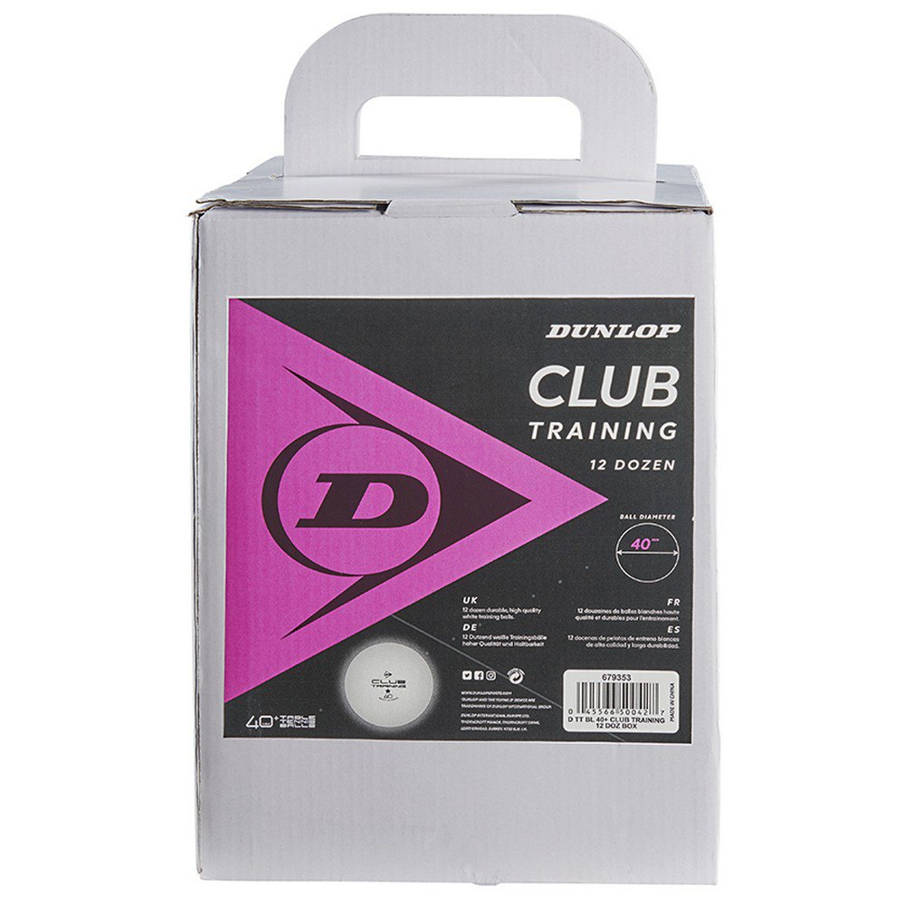 Dunlop Balles Tennis Table Club Training 40+ Mm 144 Balls White