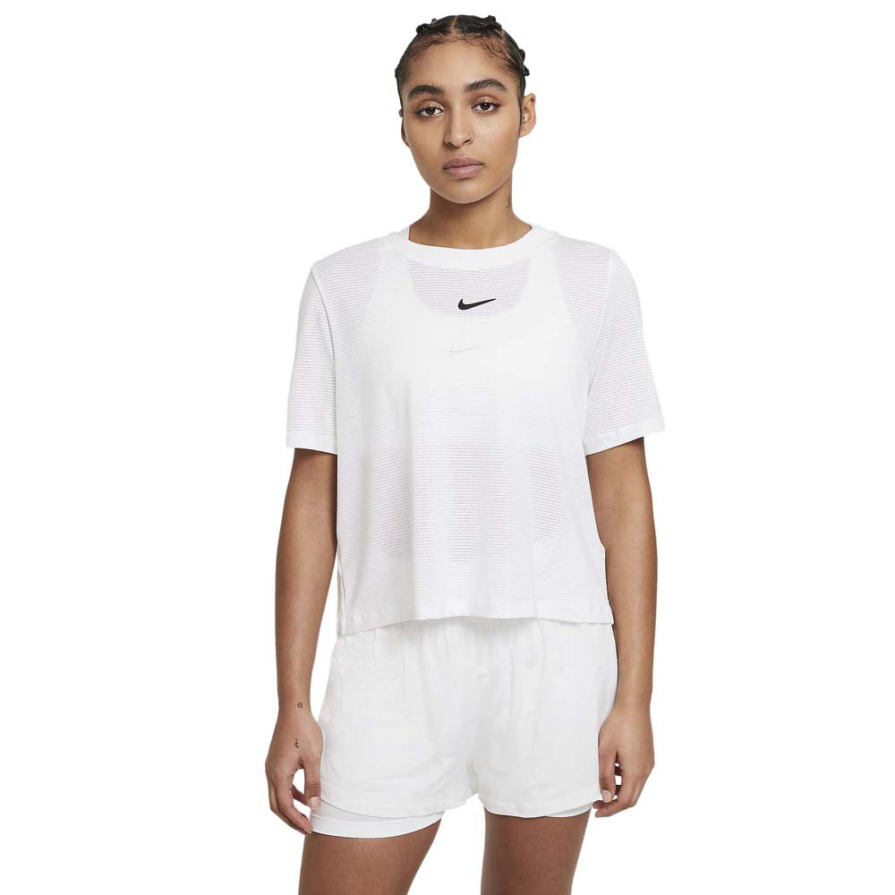 Nike T-shirt Manche Courte Court Advantage XL White / Black