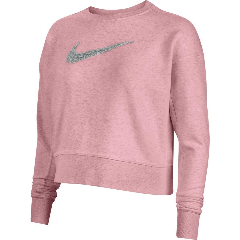 Nike Dri-figefiswoosh Crew T-shirt Manche Longue L Pink Glaze / Lt Smoke Grey