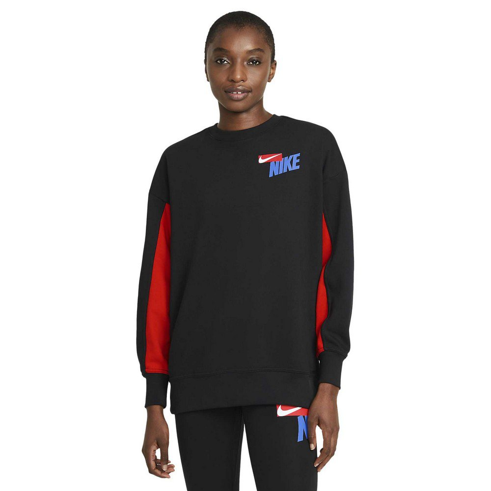 Nike Dri-figefifleece Graphic Crew T-shirt Manche Longue S Black / Chile Red / White