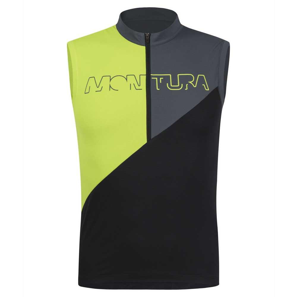 Montura T-shirt Sans Manches Land Zip L Black / Lime Green
