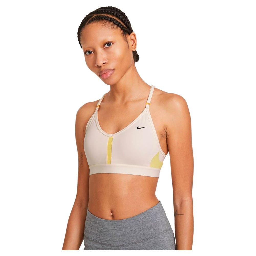 Nike Dri Fit Indy Light Support Padded V Neck L Pale Ivory / Citron Pulse / Pale Ivory / Black