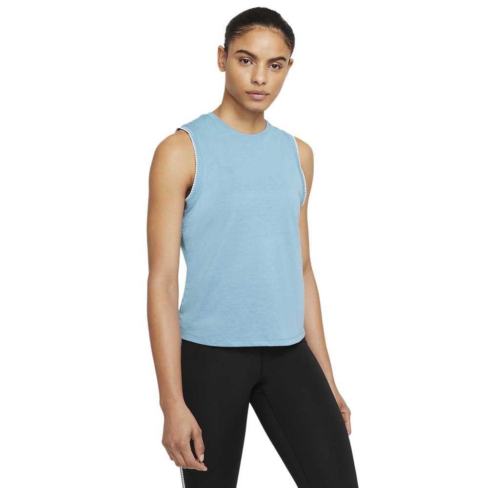 Nike T-shirt Sans Manches Yoga Crochet Edge S Cerulean / Sail / Lt Armory Blue