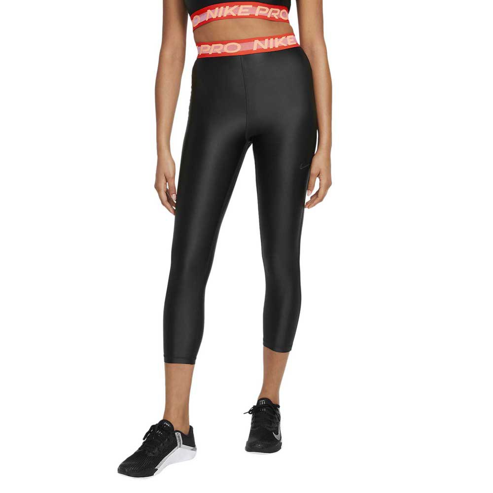 Nike Pro High Waisted 7/8 S Black / Chile Red / Clear