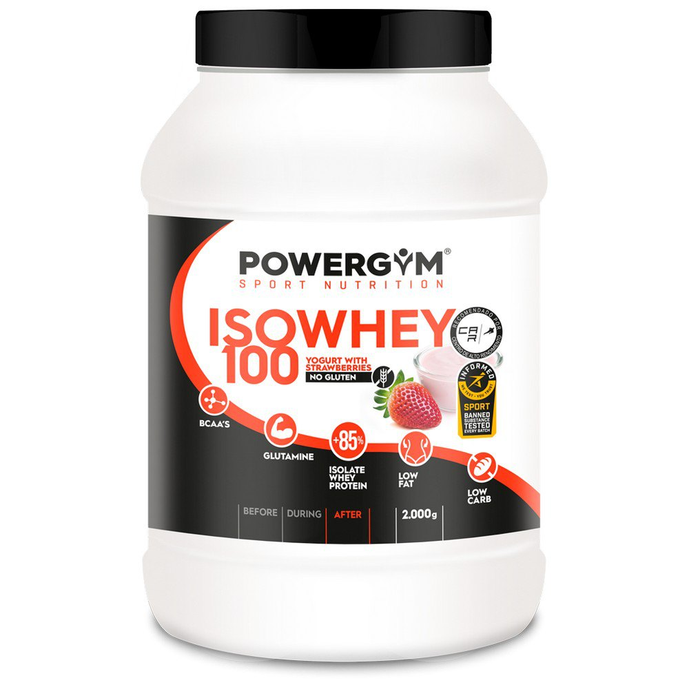 Powergym Iso Whey 100 2 Kg Yoghourt With Strawberries One Size