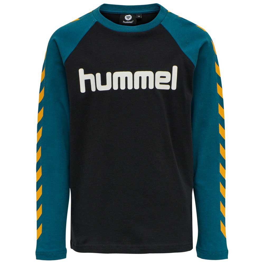 Hummel Boys T-shirt Manche Longue 128 cm Black / Blue Coral