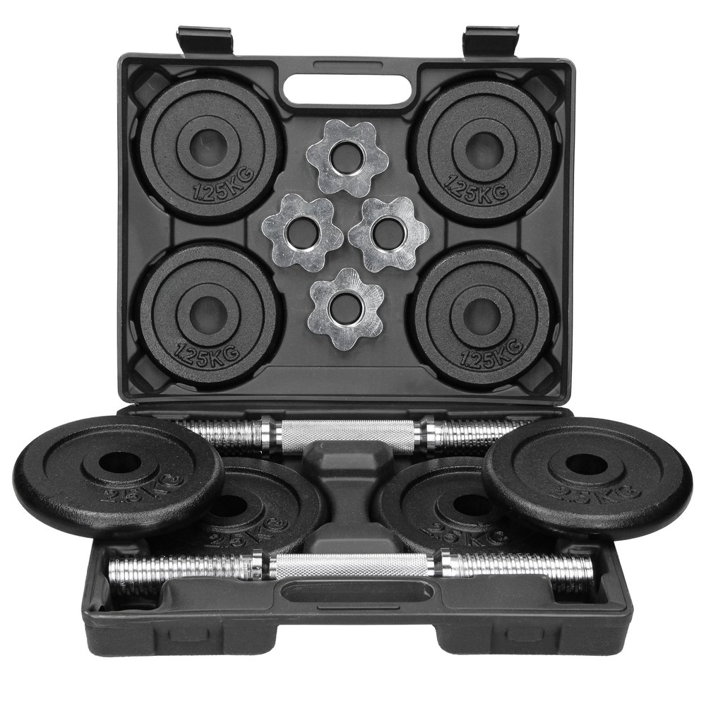 Ecd Germany Set Of 2 Dumbbells. 2x10 Kg. Made Of Cast Iron And Chromed Steel 30 x 9 x 39 cm
