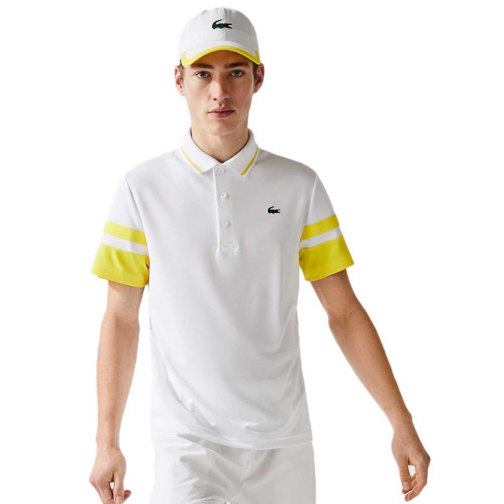Lacoste Polo Manche Courte Sport Striped Breathable Piqué XS White / Ananas