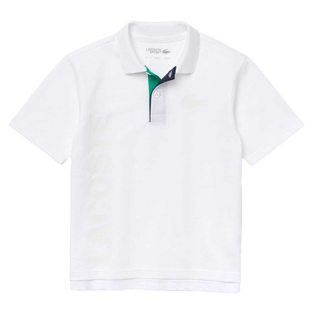 Lacoste Polo Manche Courte Sport Lettered Ultra-lightweight Knit 4 Years White