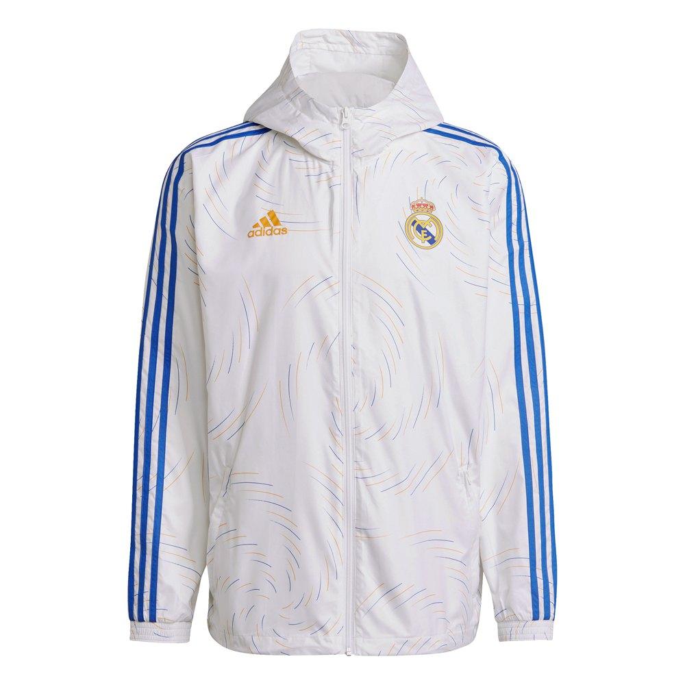 Adidas Veste Coupe-vent Real Madrid 21/22 L White / Lucky Orange / Hi-Res Blue S18