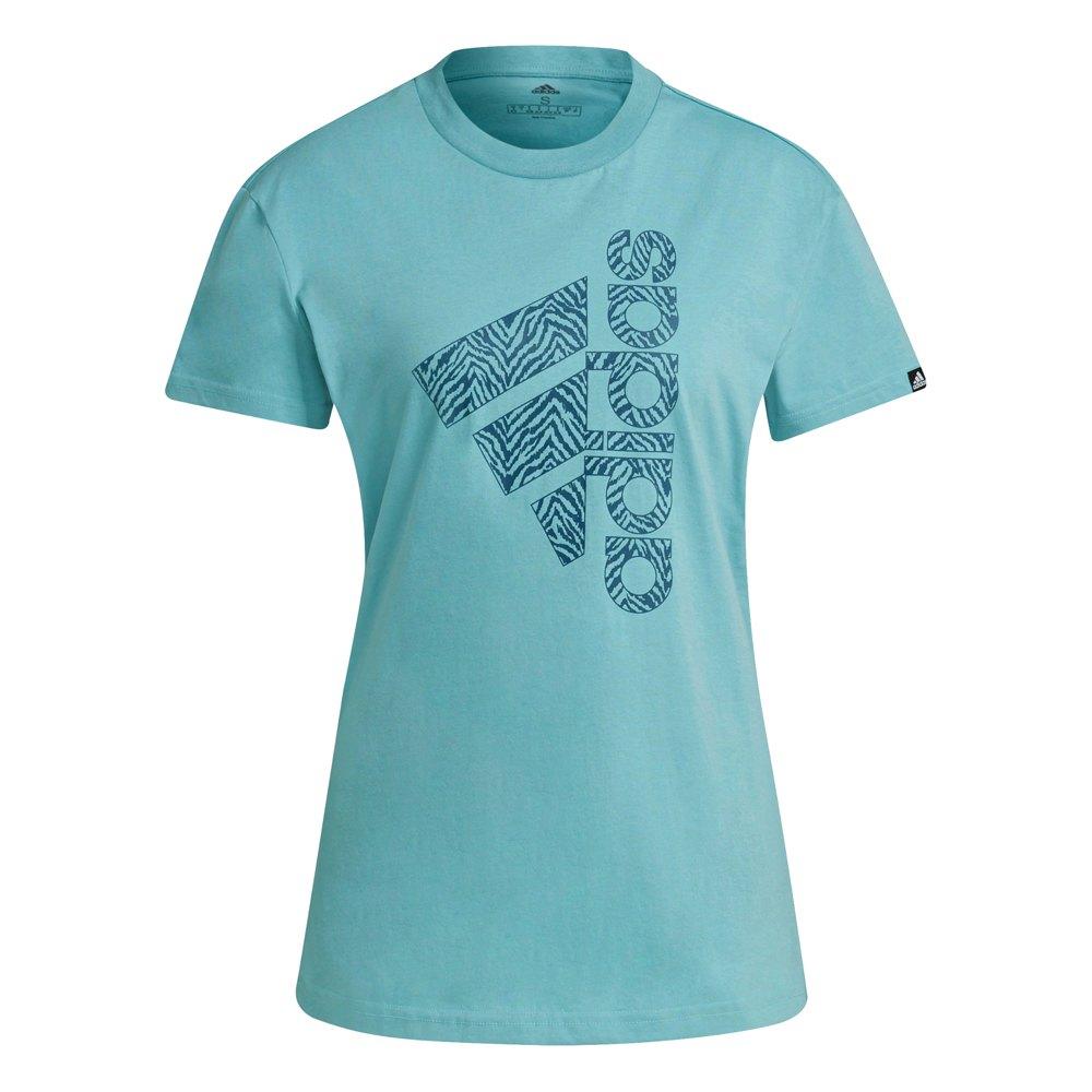Adidas T-shirt Vertical Zebra Print M Mint Ton / Orbit Indigo