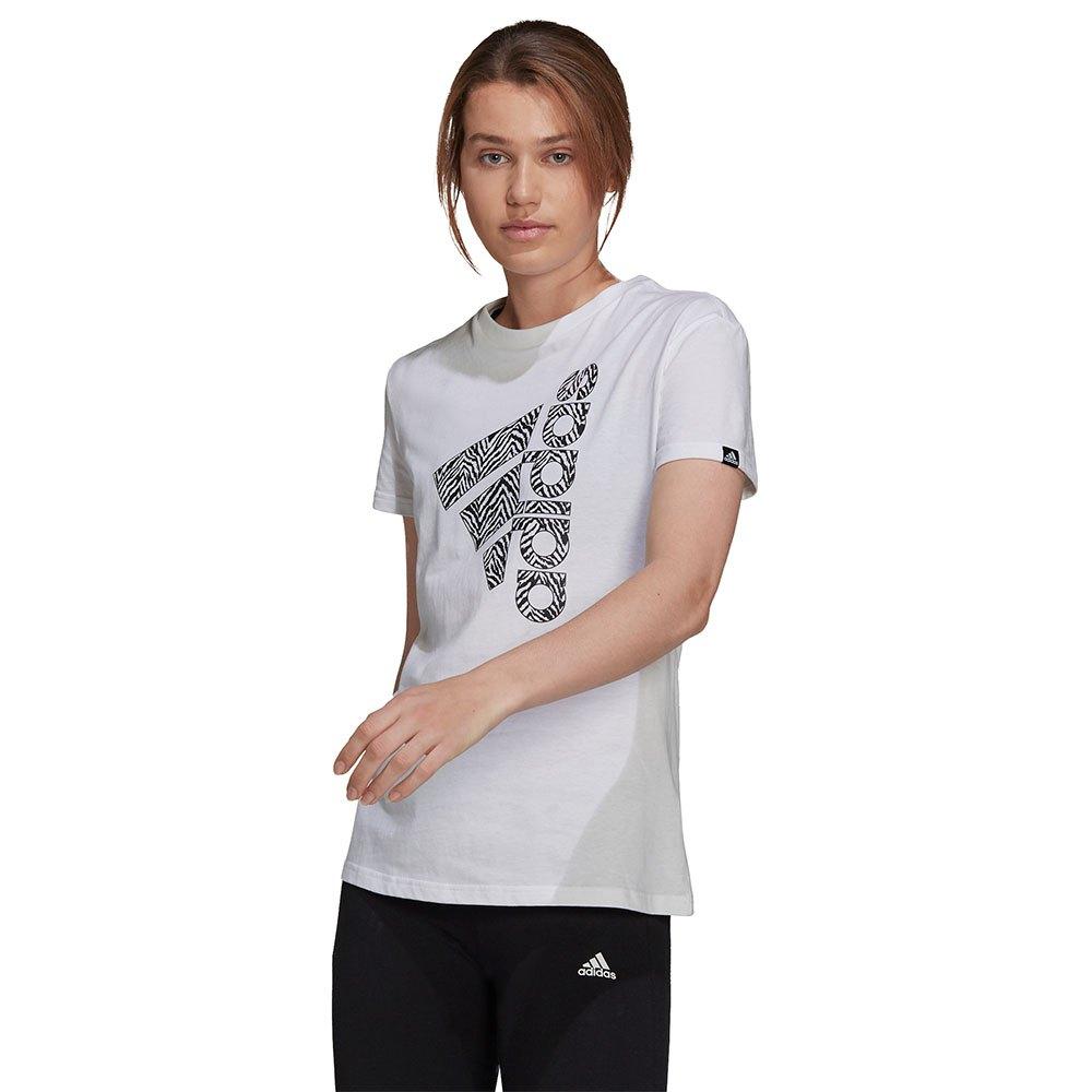 Adidas T-shirt Vertical Zebra Print L White / Black