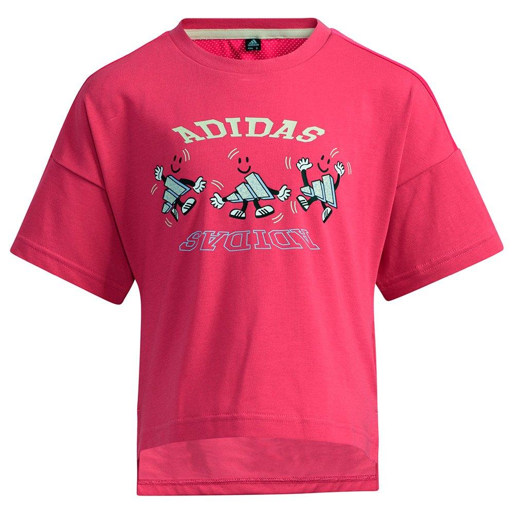 Adidas T-shirt Manche Courte Lg Cot 122 cm Shock Pink