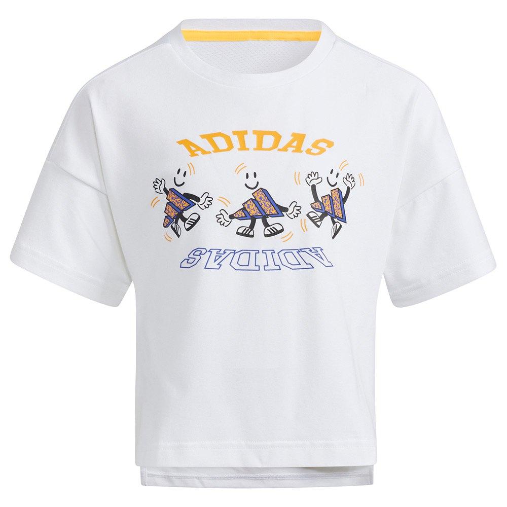 Adidas T-shirt Manche Courte Lg Cot 134 cm White