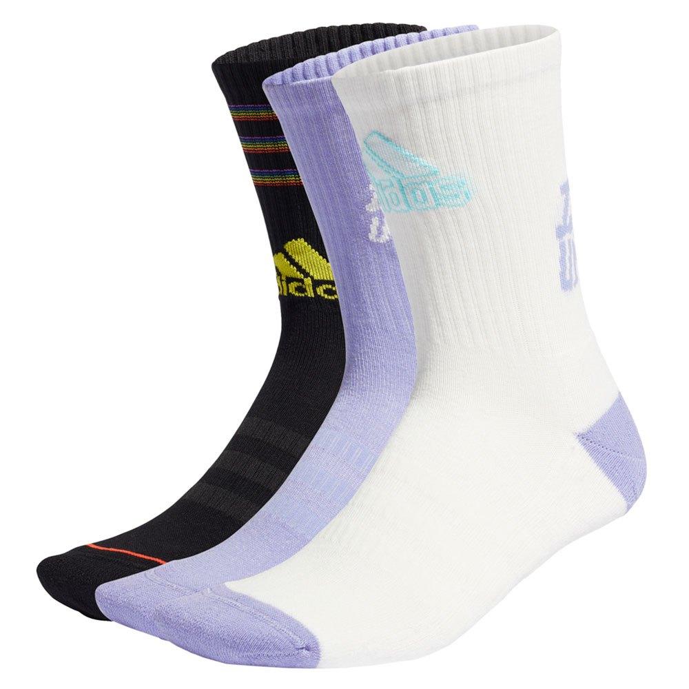 Adidas Médias Tiro 3 Stripes EU 43-45 Black / Off White / Light Purple