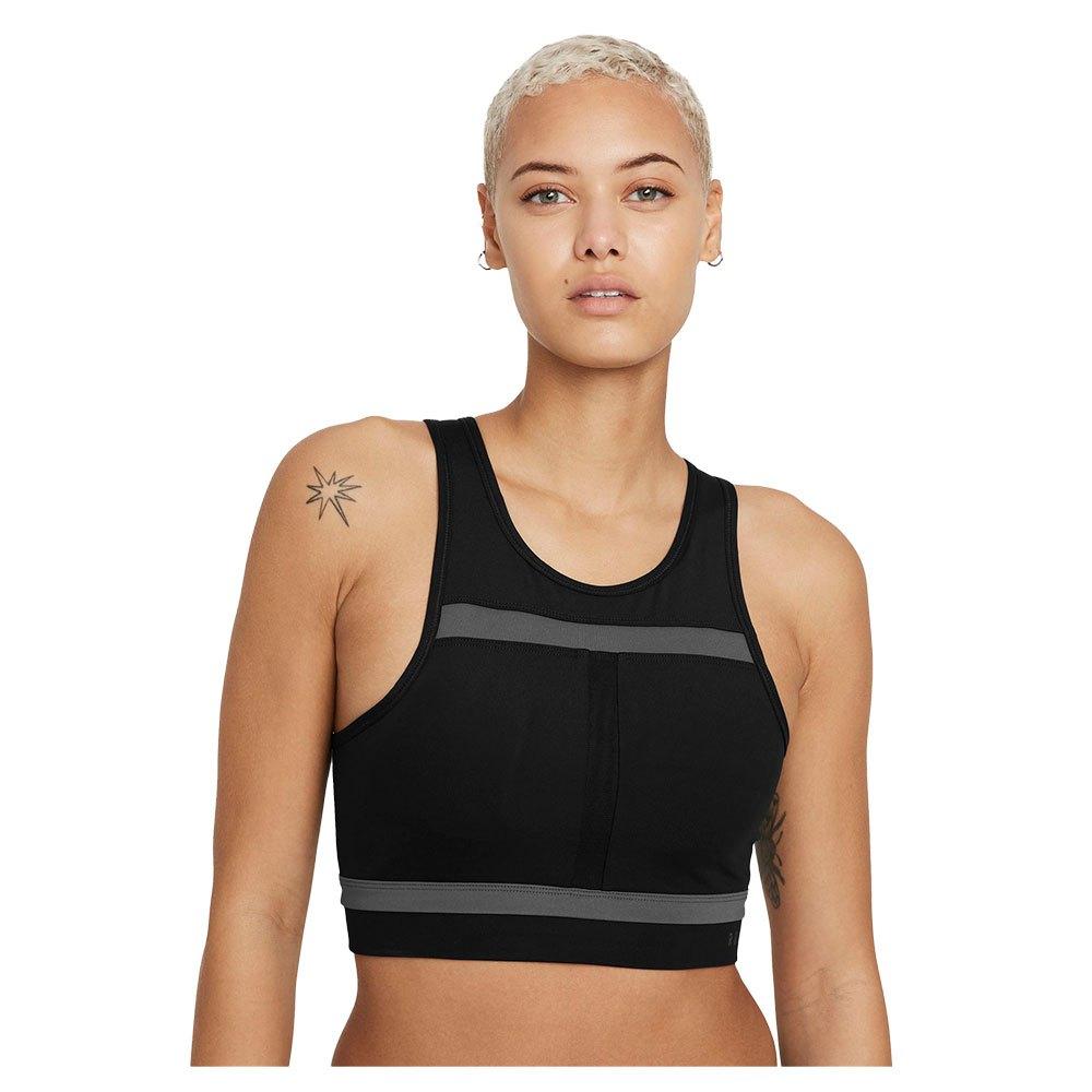 Nike Brassière Sport Dri Fit Swoosh Run Division Medium Support S Black / Iron Grey / Iron Grey / Et801