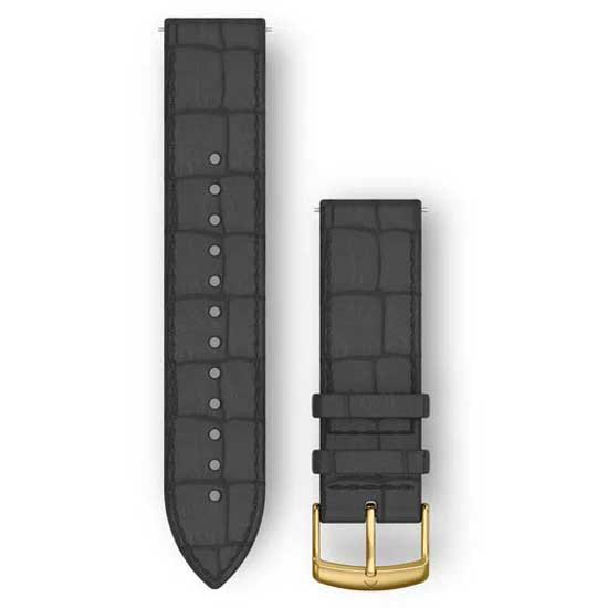 Garmin Bracelet Cuir Quick Release 20mm One Size Black Embossed / Gold