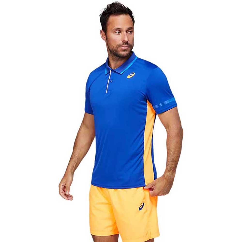 Asics T-shirt Manche Courte Padel S Monaco Blue / Orange Pop