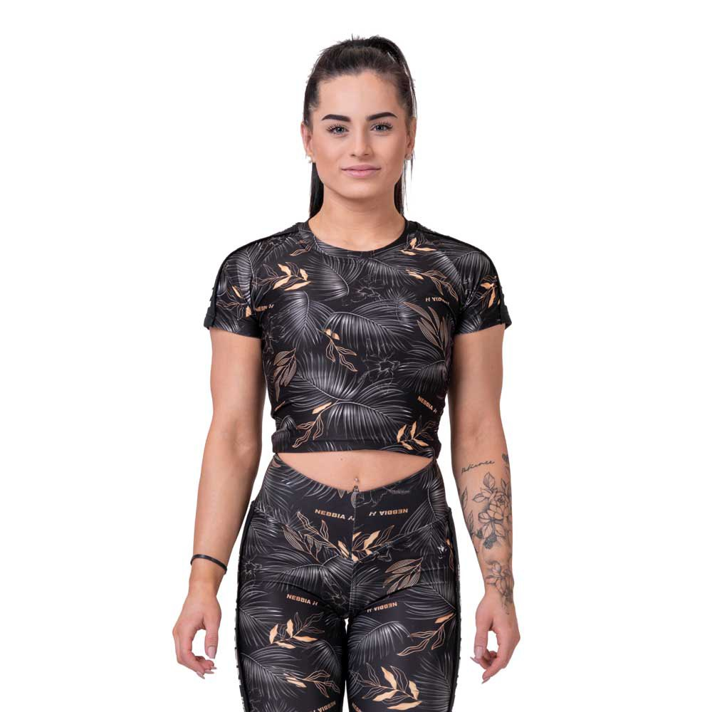 Nebbia T-shirt Active Crop Top XS Volcanic Black