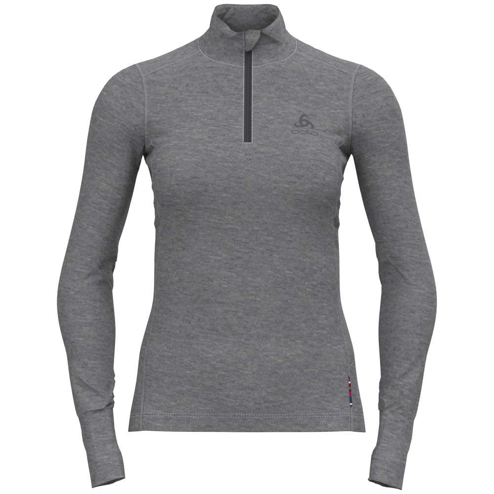 Odlo T-shirt Manche Longue Natural Turtle Neck S Grey Melange - Grey Melange