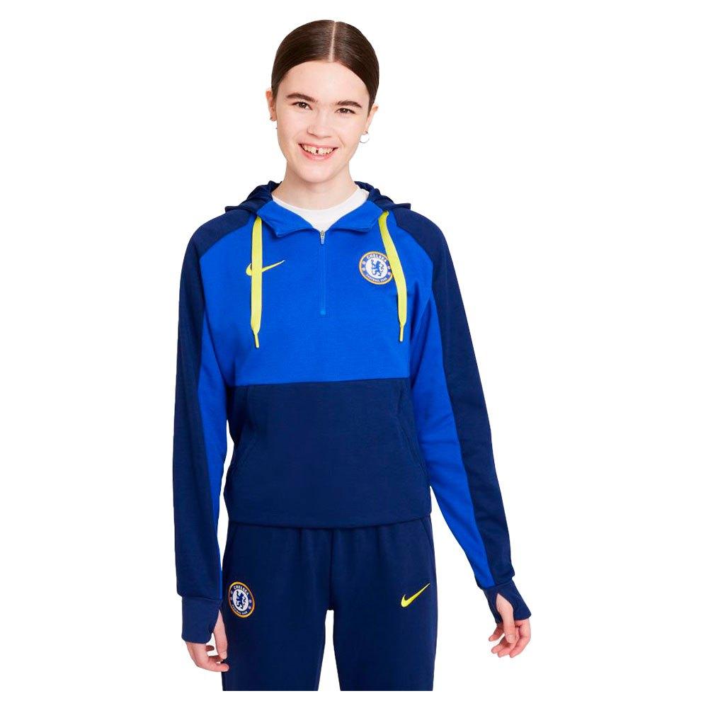 Nike Sweatshirt Chelsea Fc Fleece 21/22 Femme S Lyon Blue / Blue Void / Opti Yellow
