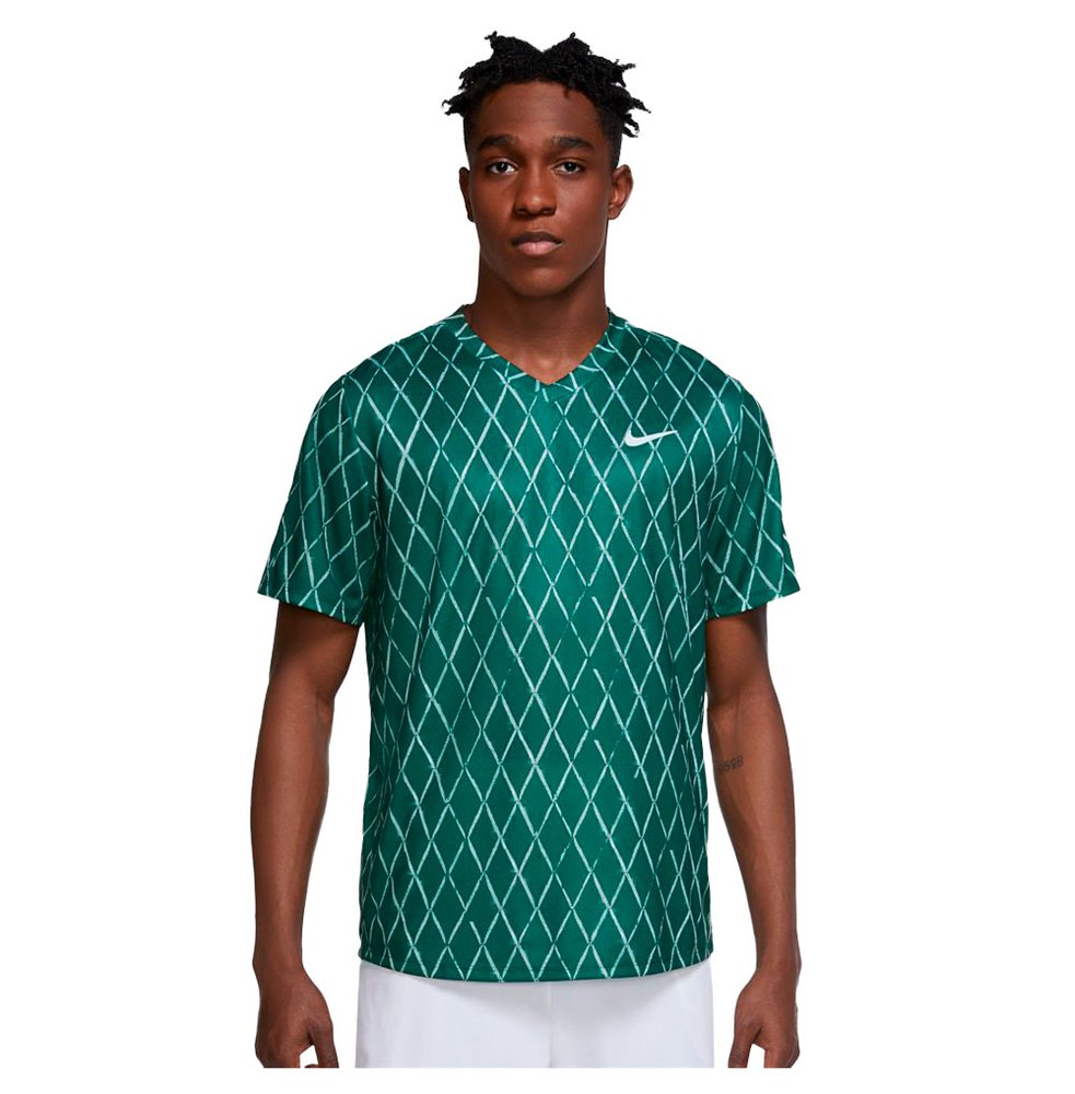 Nike T-shirt Manche Courte Court Dri Fit Victory Printed S Gorge Green / White