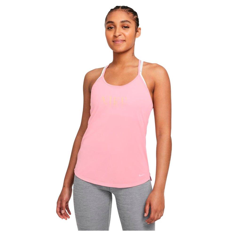 Nike T-shirt Sans Manches Dri Fit One S Pink Glaze / Melon Tint / White