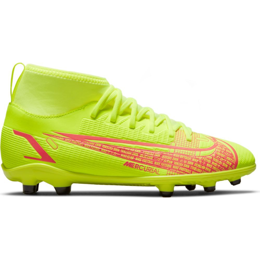 Nike Chaussures Football Mercurial Vapor Superfly Viii Club Fg/mg EU 33 Volt / Black-Bright Crimson