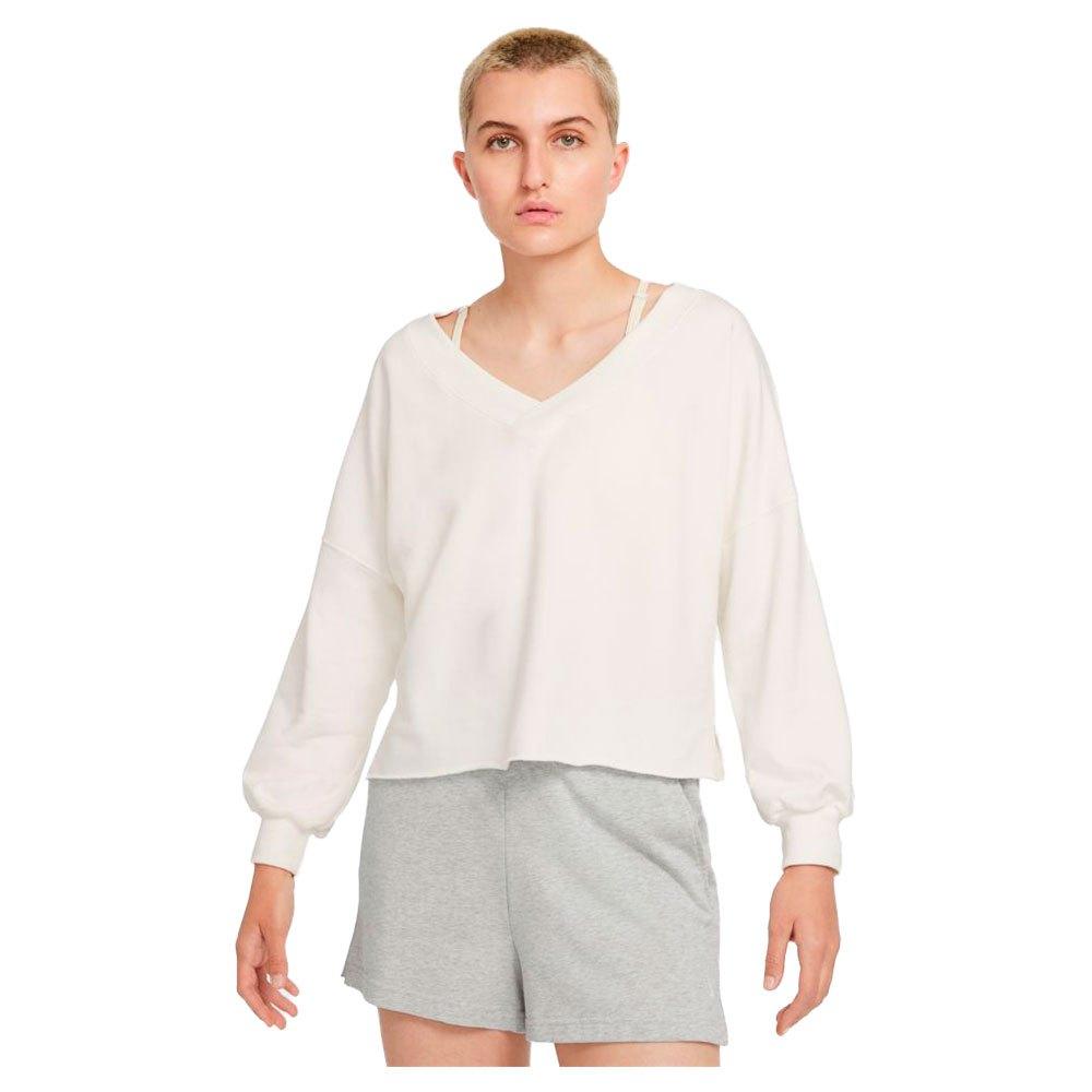 Nike T-shirt Manche Longue Yoga Luxe V-neck M Sail / White