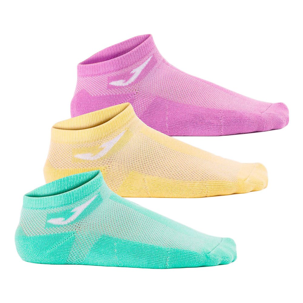 Joma Chaussettes Courtes 3 Paires EU 31-34 Yellow / Purple / Green