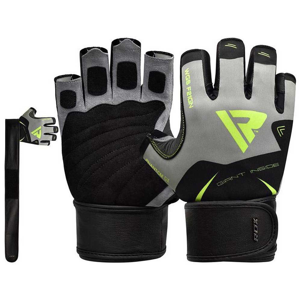 Rdx Sports Gants Courts F21 For Powerlifting With Long Wrist Support Strap XXL Green