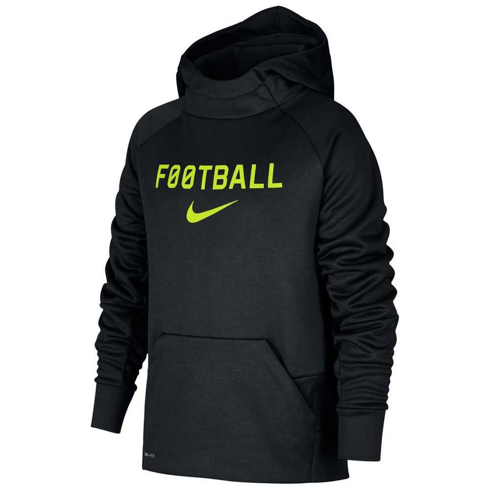Nike Sweat À Capuche Therma Football M Black / Black / Lime Blast