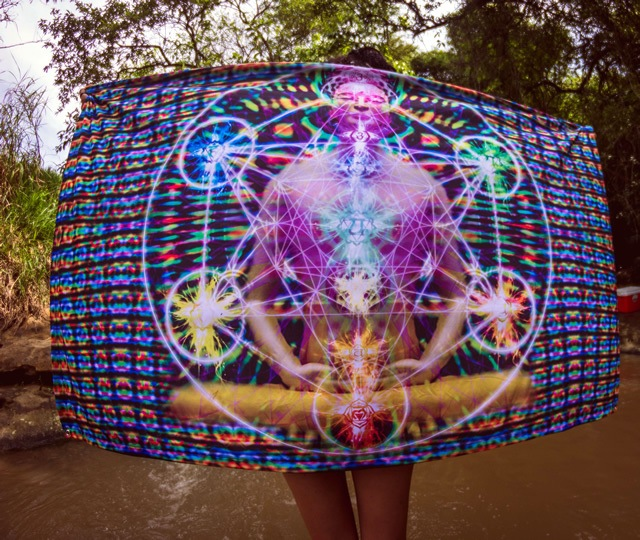 Banner em Tecido Psicodélico - Budda Geometria Sagrada