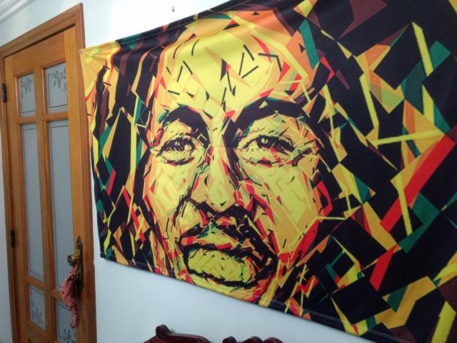 Banner Psicodélico em Tecido - Bob Marley Psicodélico