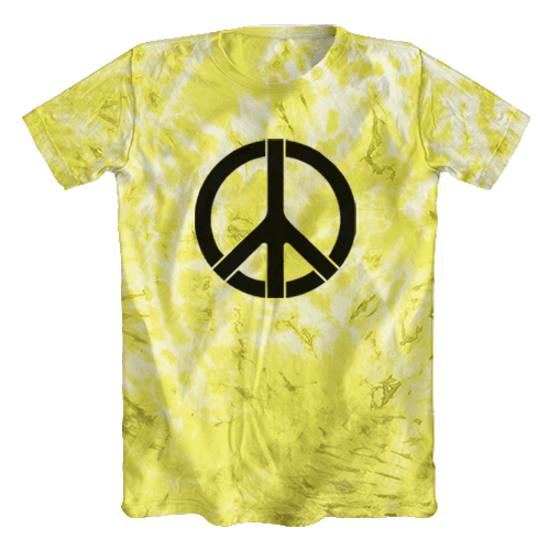 Camiseta Tie Dye Psicodélica Símbolo da Paz Amarela