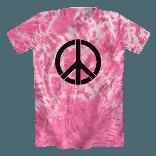 Camiseta Tie Dye Psicodélica Símbolo da Paz Rosa