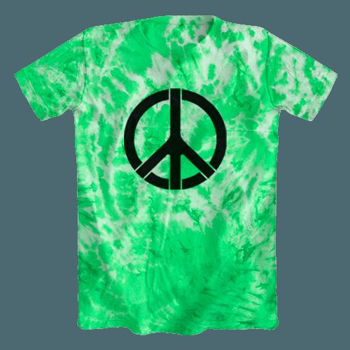 Camiseta Tie Dye Psicodélica Símbolo da Paz Verde Clara