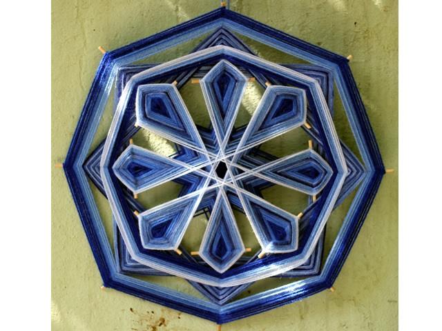 Mandala Azul - 8 pontas 40cm