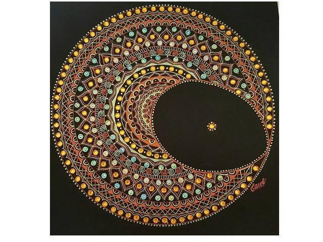 Quadro Mandala - Lua Mandálica - 25x25cm
