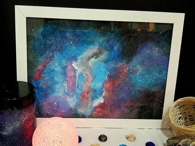 Quadro Psicodélico - Nebulosa Em Aquarela -  21x30cm