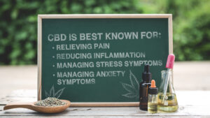 Chalkboard listing potential benefits of CBD