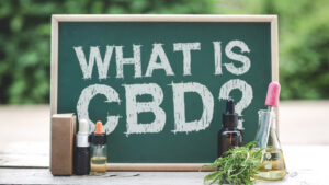 "chalkboard that says ""What is CBD?"""