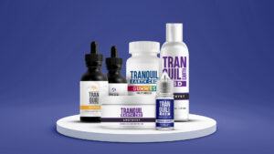 Image shows entire range of Tranquil Earth CBD products