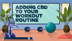 "workout equipment with sign saying ""adding cbd to your workout routine"""