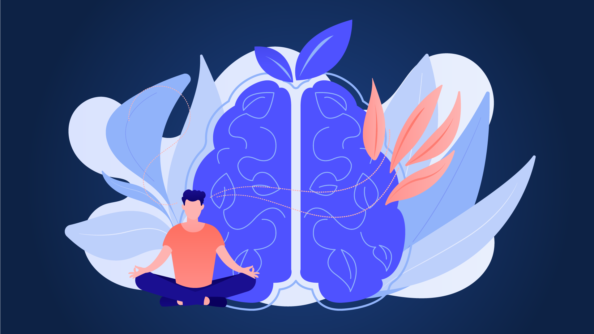 person meditating in front of background of brain and plants