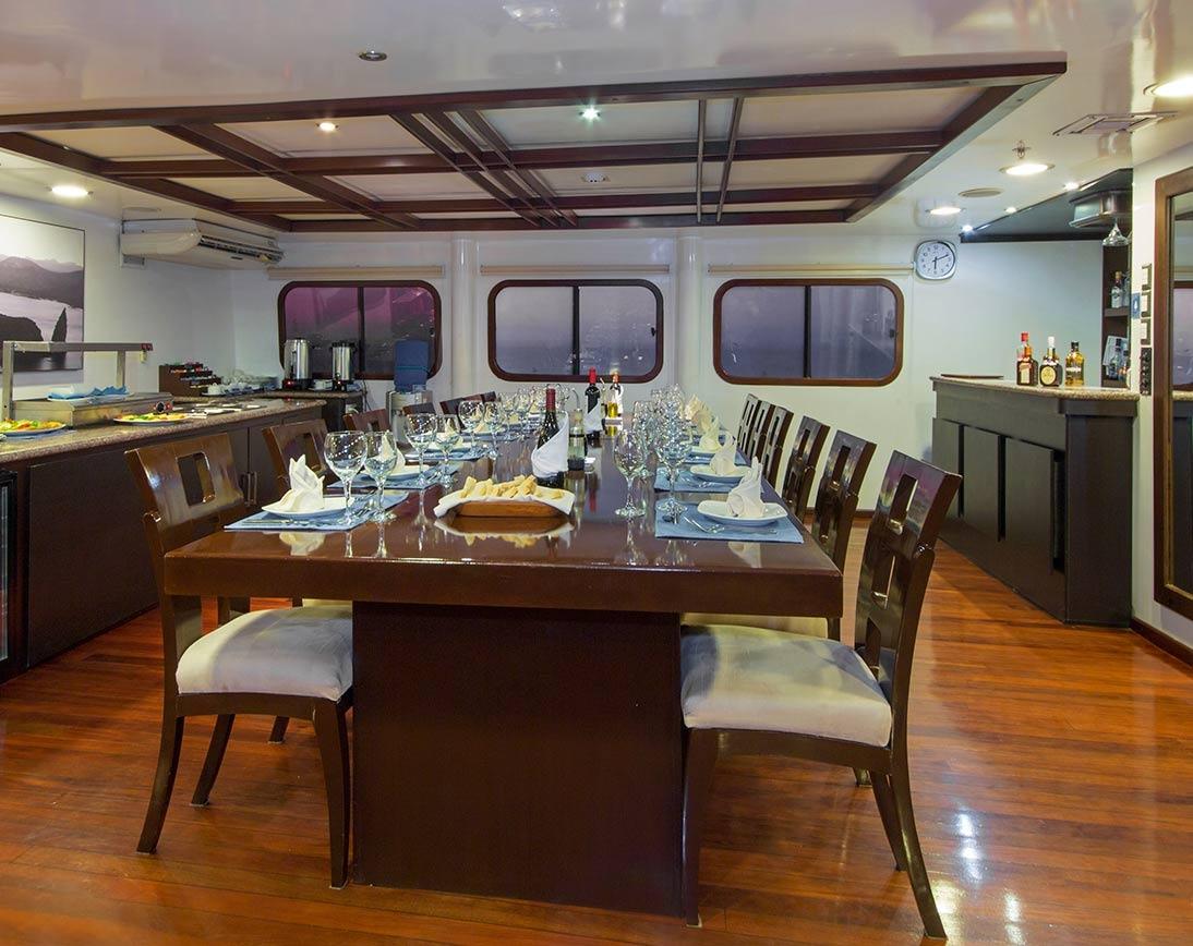 Dinning area   Cormorant Catamaran