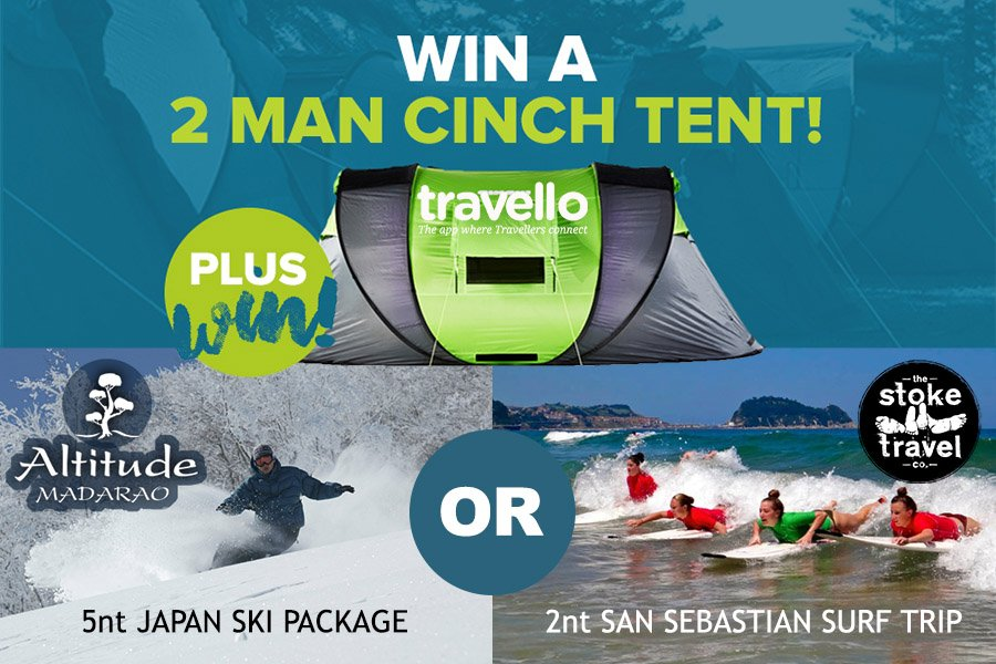 Win A Cinch Tent + Either A 5nt Japan Ski Package Or A 2nt San Sebastian Surf Trip
