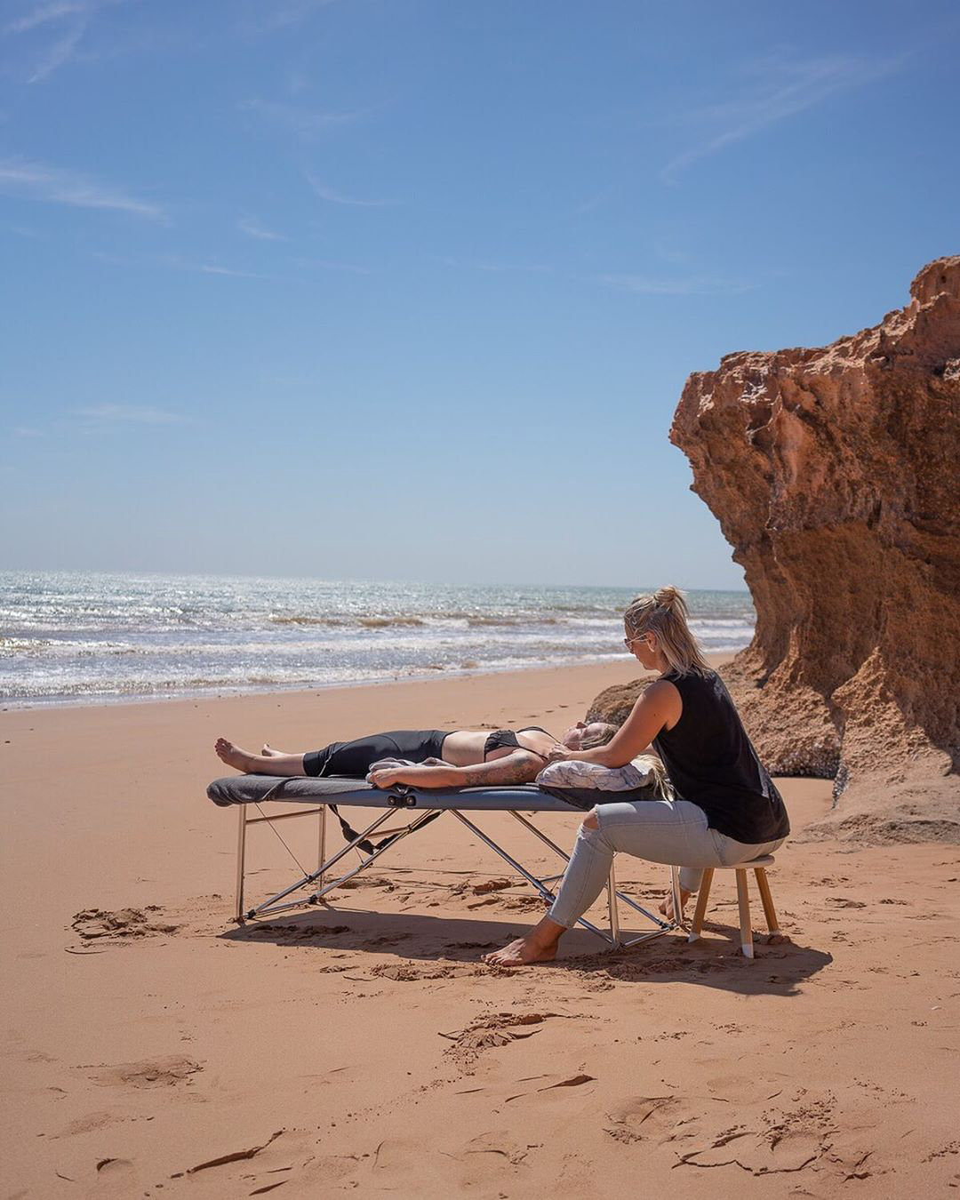 Massages at the beach.