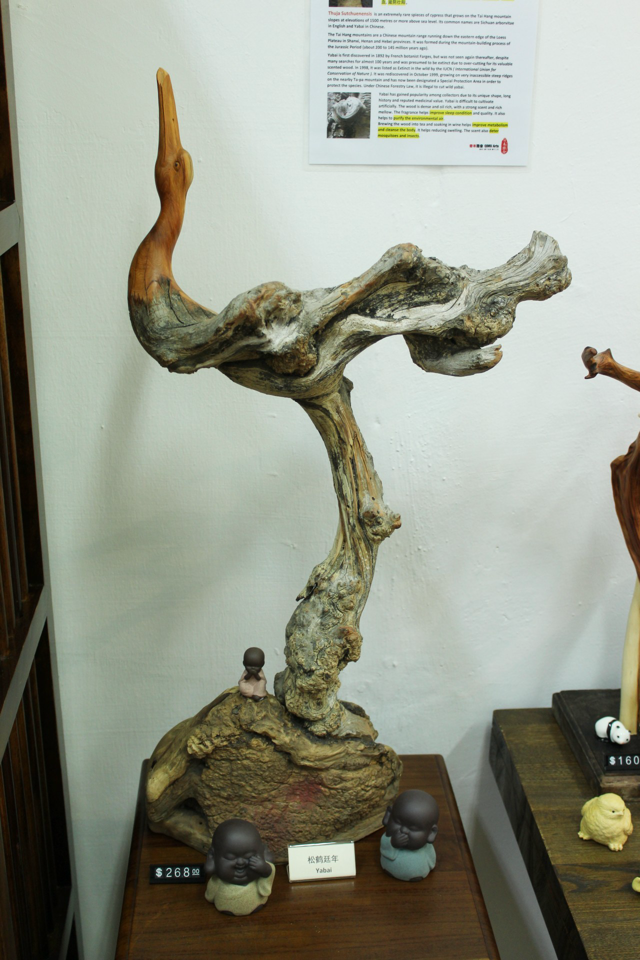 Yabai wood, with some additional carving