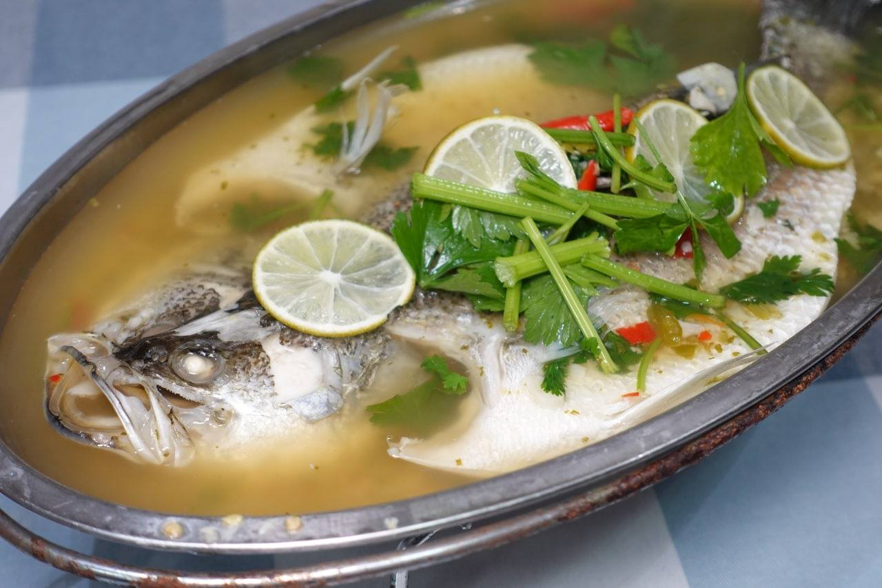 Premjai's Steamed Seabass in Spicy Lime Sauce